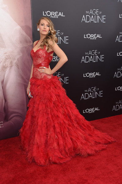 Blake Lively Red Lace Dress